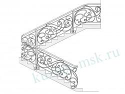 Эскиз кованой лестницы с перилами модерн