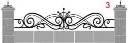 Кованое навершие для кирпичного забора эскиз №3 - 3700 руб. пог.м.