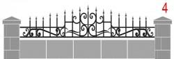 Кованое навершие для бетонного забора эскиз №4 - 3500 руб. пог.м.