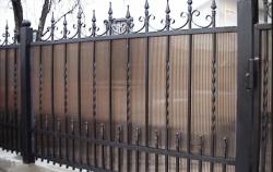 Забор кованый с поликарбонатом фото №8