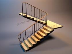 Макет лестницы с перилами в 3D - 1
