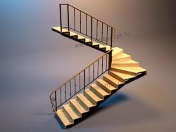 Макет лестницы с перилами в 3D - 2