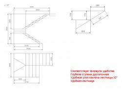 Чертеж лестницы с разворотом на 180 и забежными ступенями